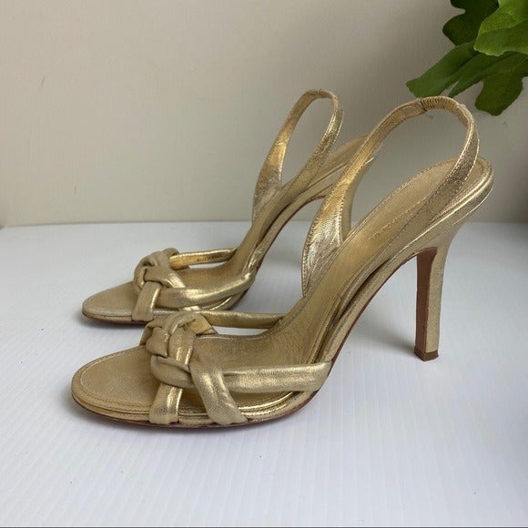 BCBG MaxAzria Gold Leather Braided heels
