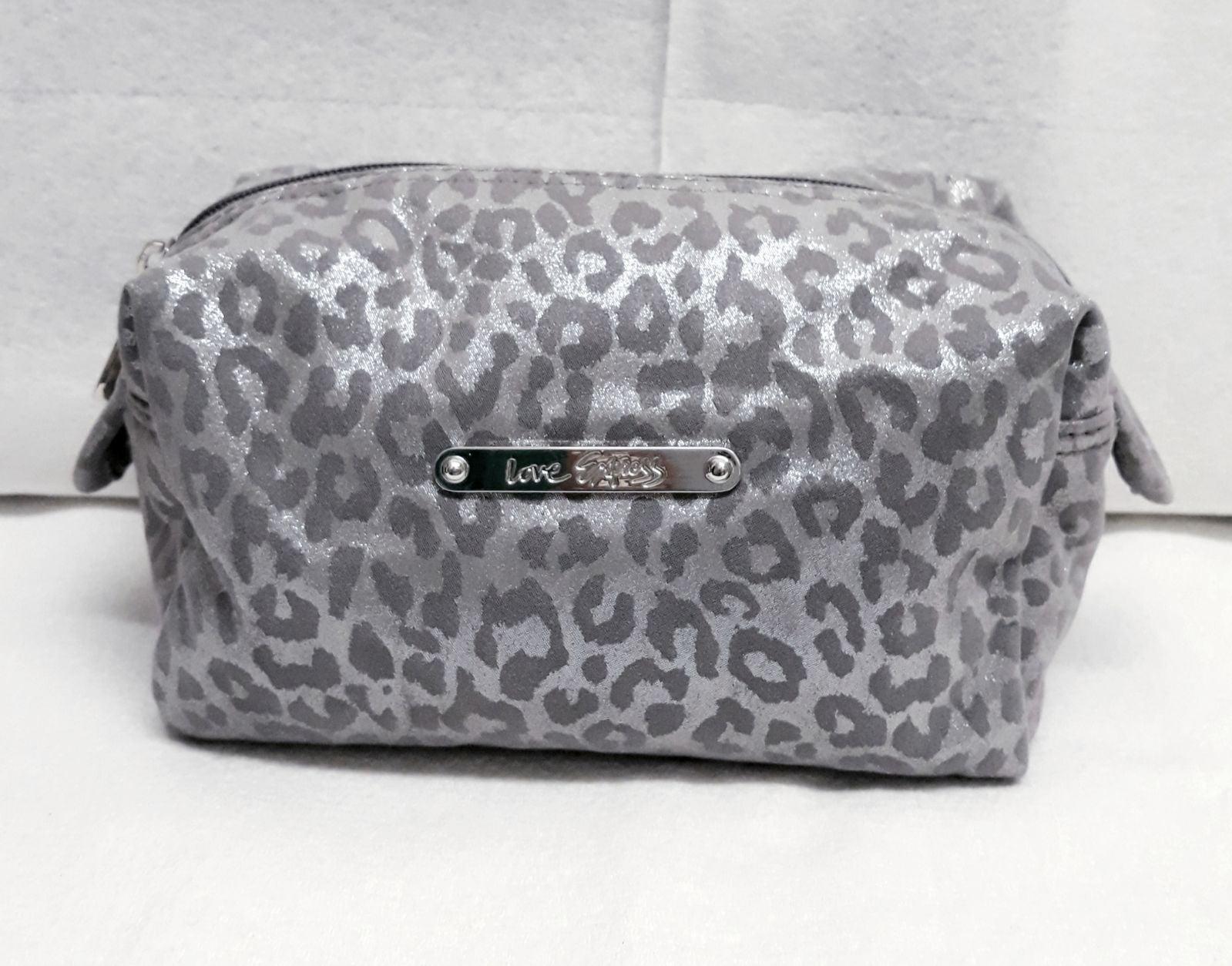 Sexy Silver Grey Leopard Cosmetic Case