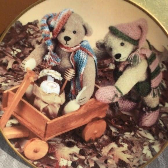 VINYAGE CUTE TEDDY CHRISTMAS PLATE DECO