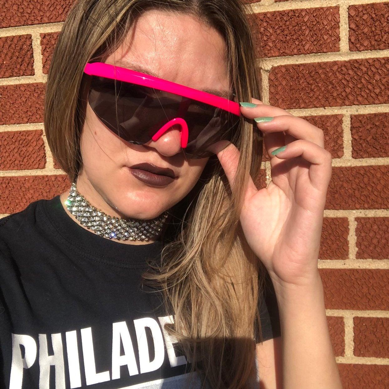 1990s Style Hot Pink Visor Sunglasses