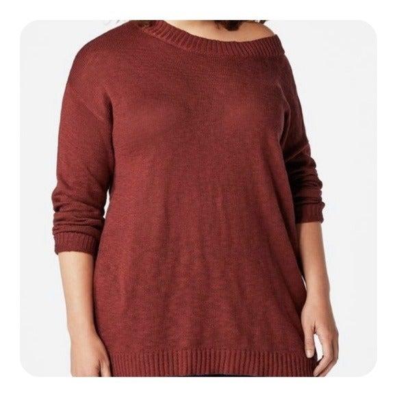 JUSTFAB Boatneck Oxblood Tunic Sweater