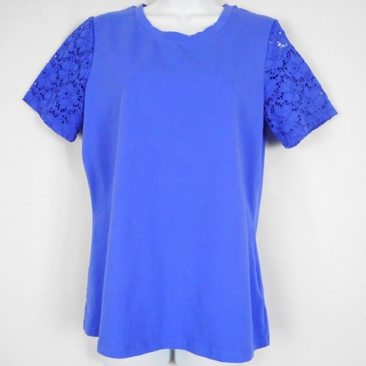 Denim Co Top Womens Size S Blue Lace Slv