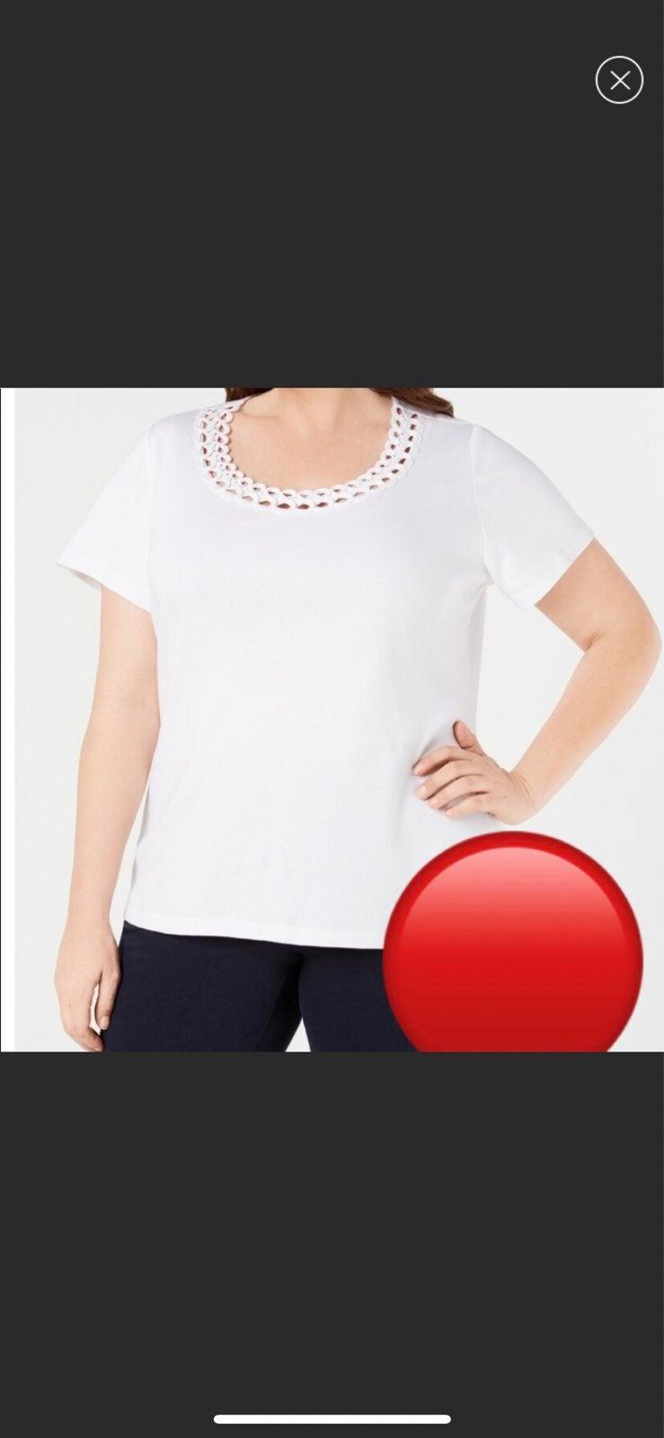 NWT Karen Scott Stud Scoopneck Tshirt