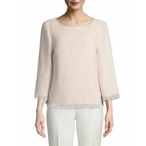 Anne Klein Tweed Fringe Top Size XS B97
