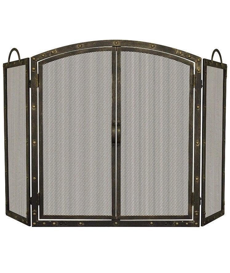 aged bronze 3 panel fireplace screen