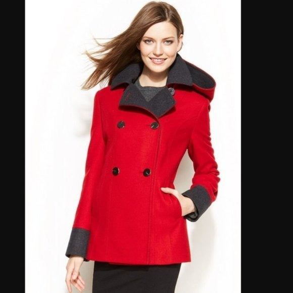NAUTICA Double Breasted Red Pea Coat XL