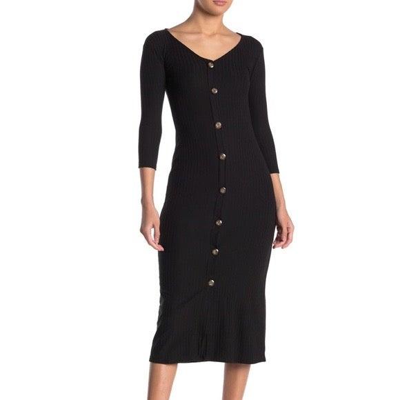 Velvet torch V-Neck Ribbed midi dress