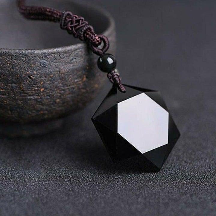 Unisex Obsidian Hexagram Pendant Necklace Gift