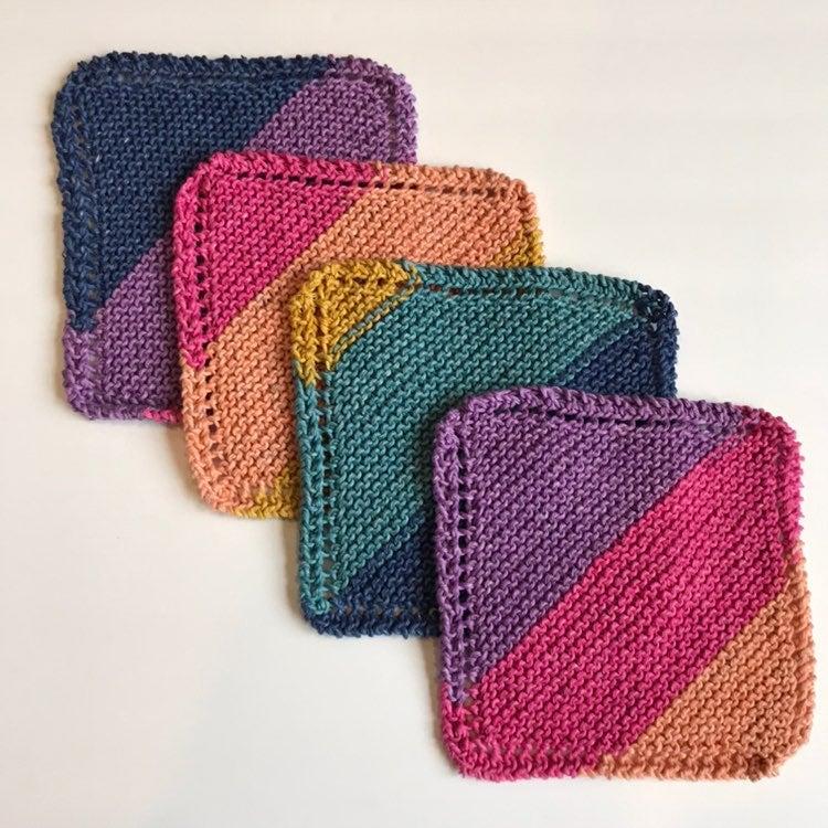 New, set of (4) Handmade Knit Washcloths
