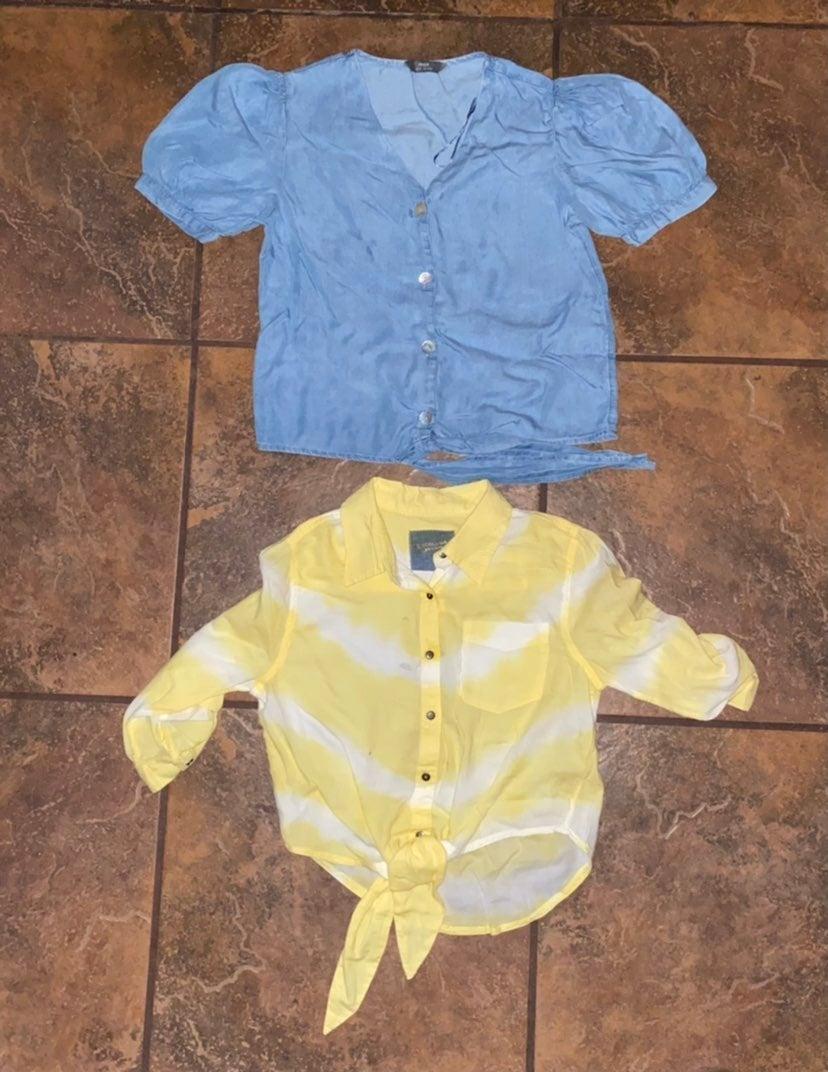 Button Up Tie Blouse Bundle
