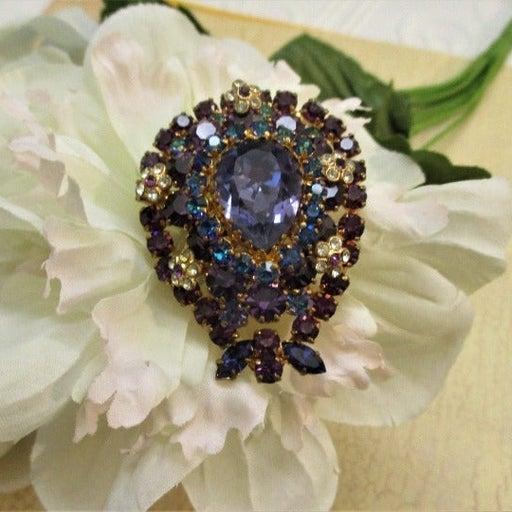Austrian Crystal Blue Purple Layered Brooch ~ Crystal Rhinestone Floral Brooch