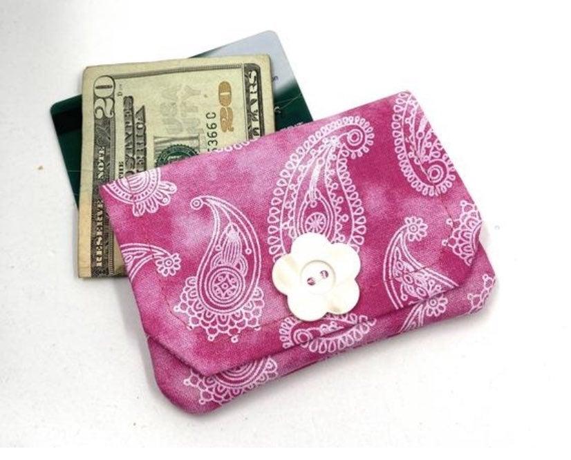 Pink Paisley Fabric Card Wallet