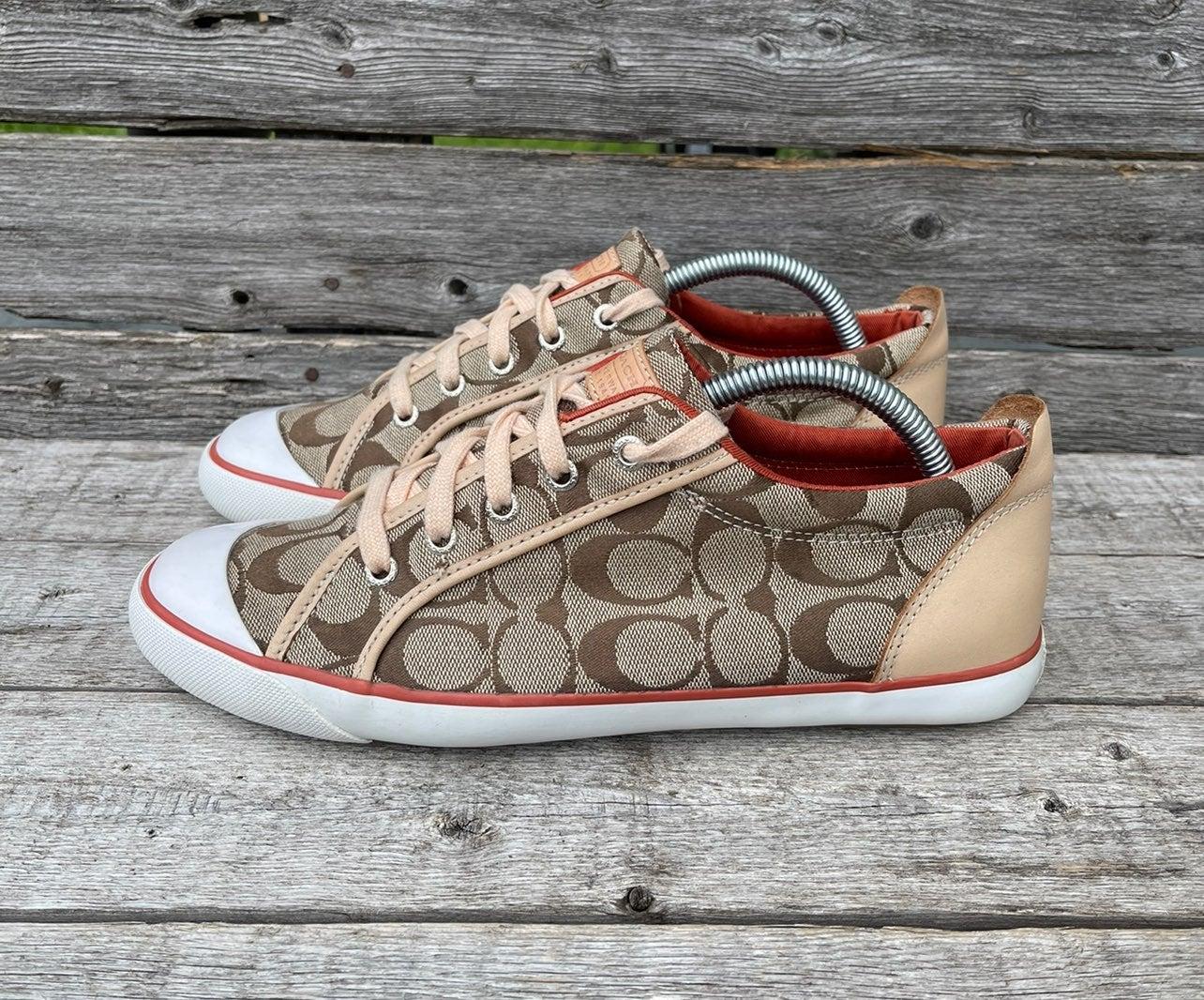 COACH Barrett Tan Leather Canvas Sneaker