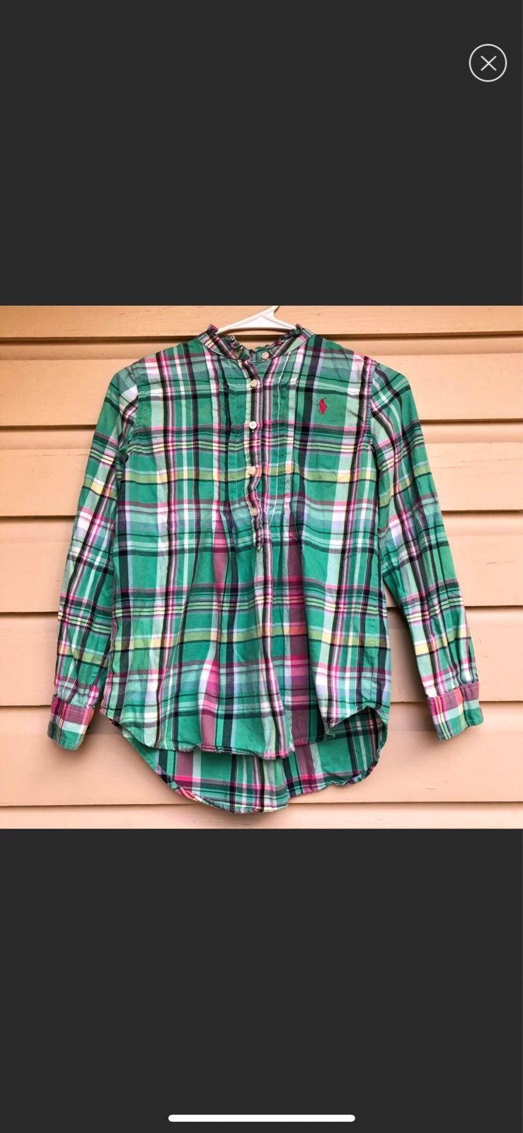 Ralph Lauren Girls Plaid Shirt Button 12