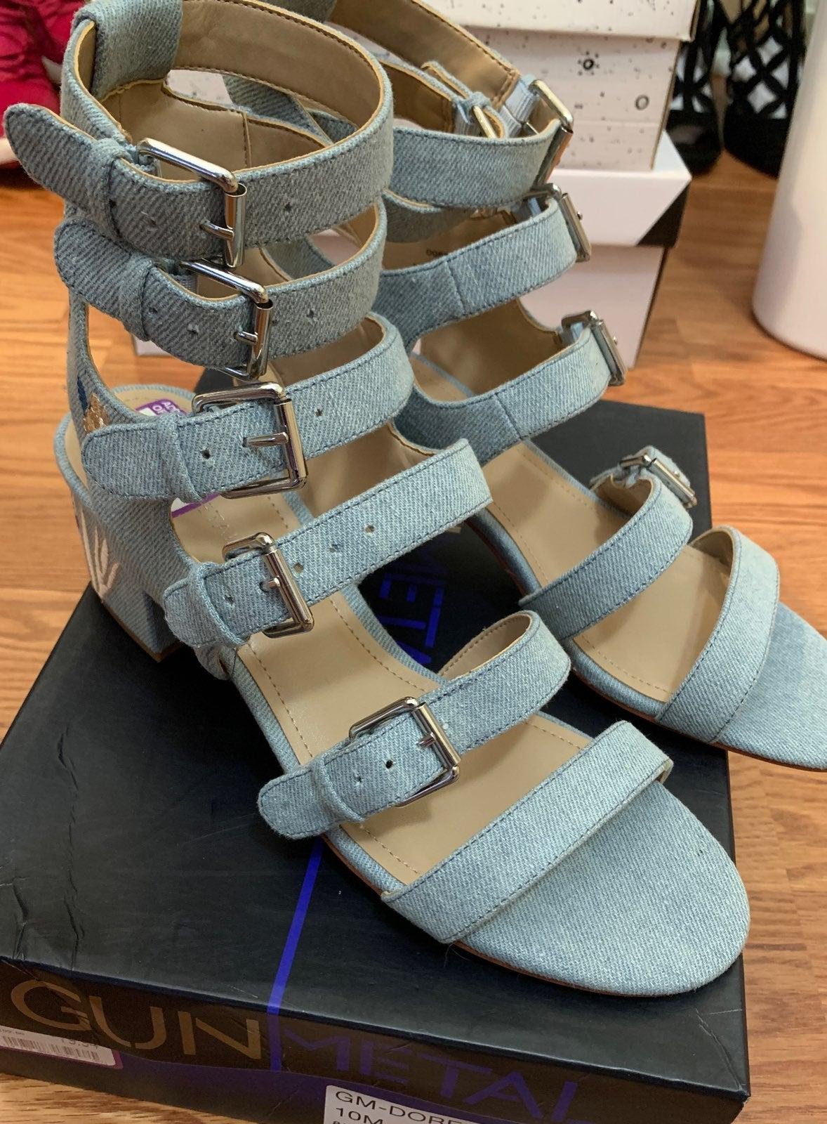 New GunNetal denim strappy sandals