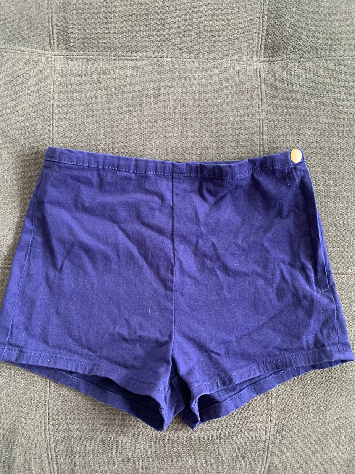 Royal Blue High Waisted Side Zip Shorts