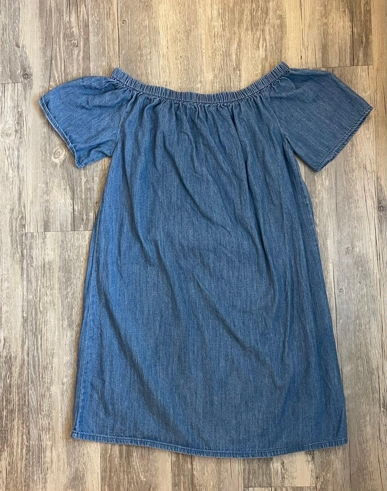 Denim Wide Neck Dress Size Medium