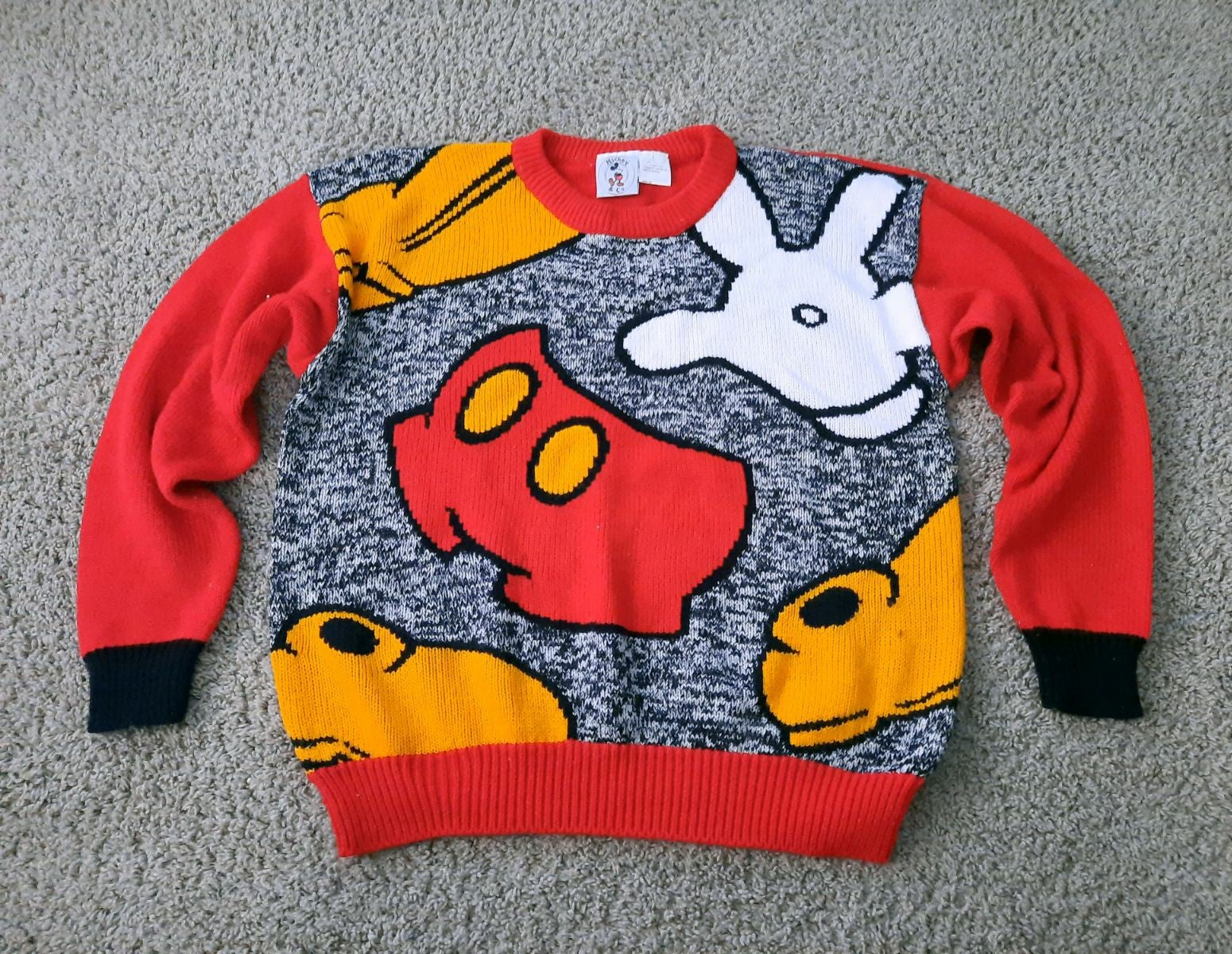 Vtg Mickey Mouse Knit Sweater