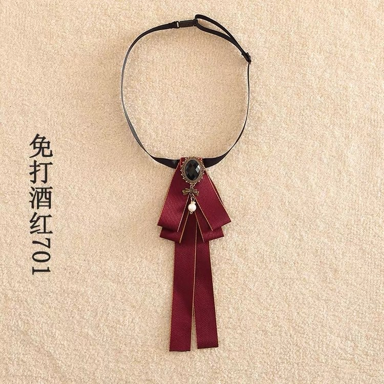 Lolita college style gothic red bow tie