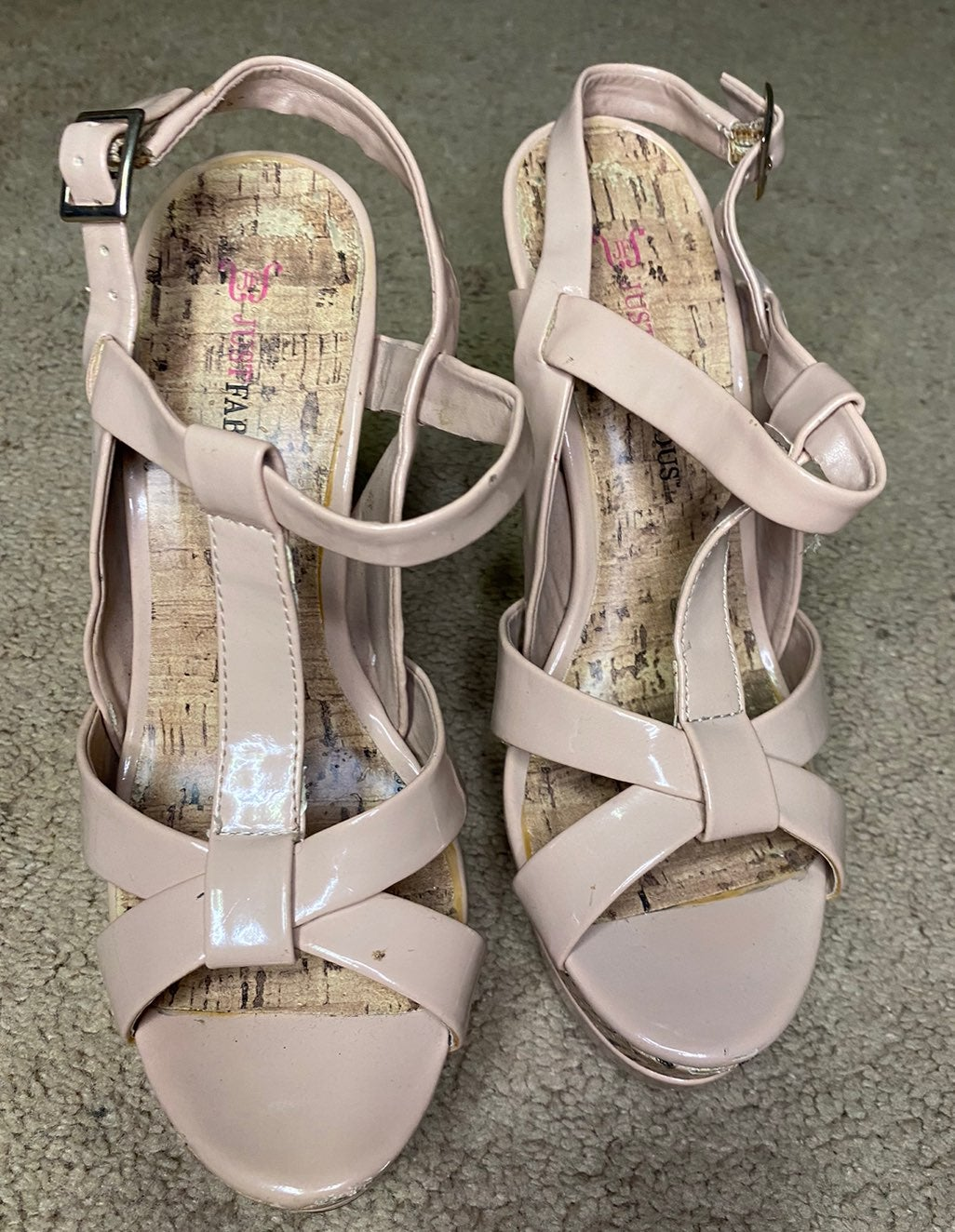 Just Fab Nude Strappy Sandals - 8