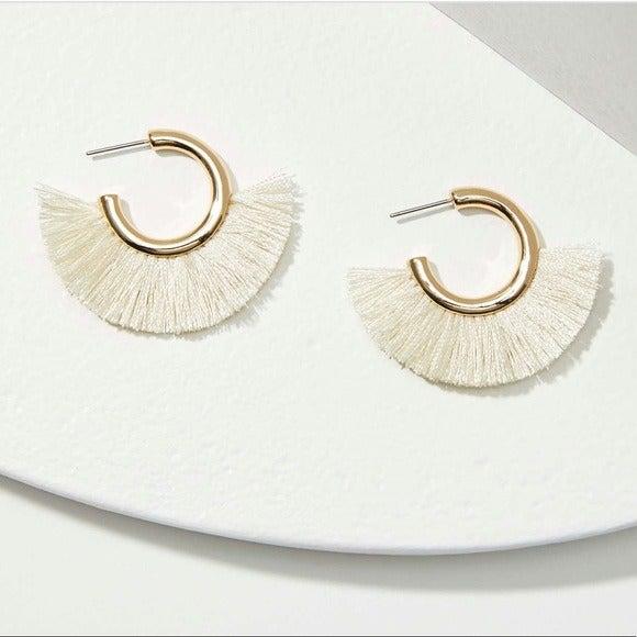 LOFT | NWT, Fringe Hoop Earrings
