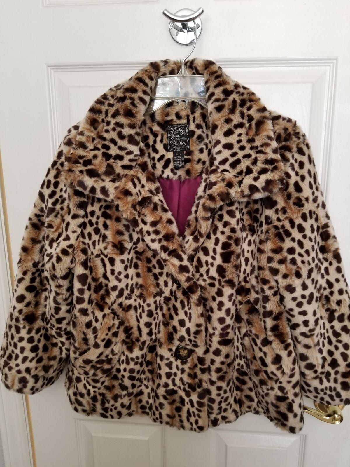 Lycky Brand Leppard Print Faux Fur Jacke