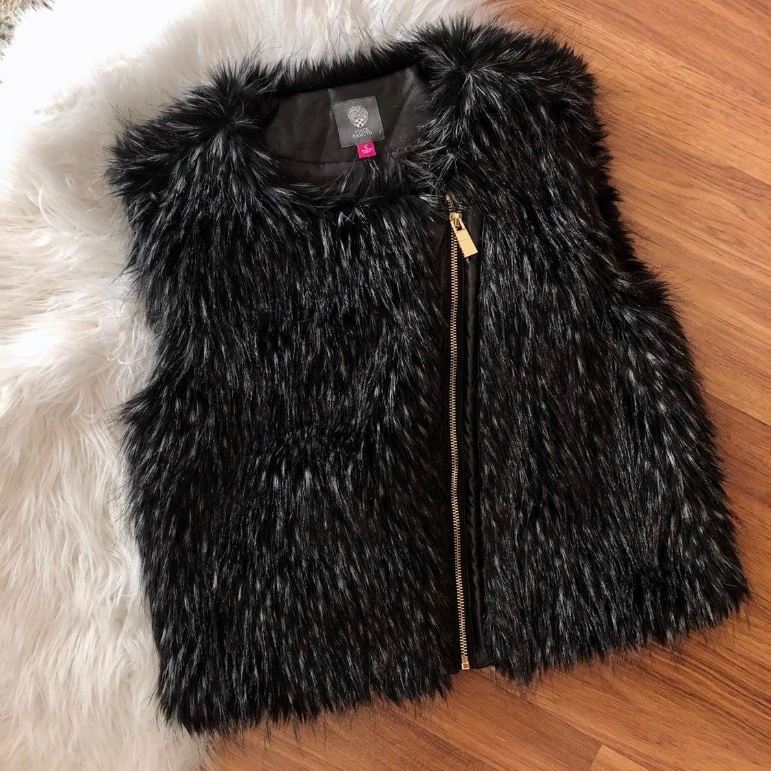 Vince Camuto Black Faux Fur Vest