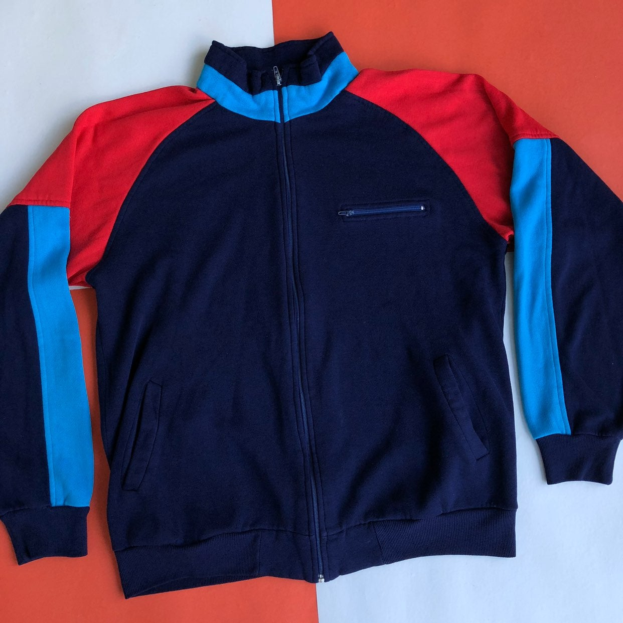 VTG 90s COLOR BLOCK ZIP TRACK JACKET