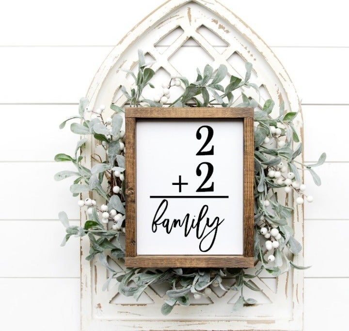 Family of Four Farmhouse Wood Sign