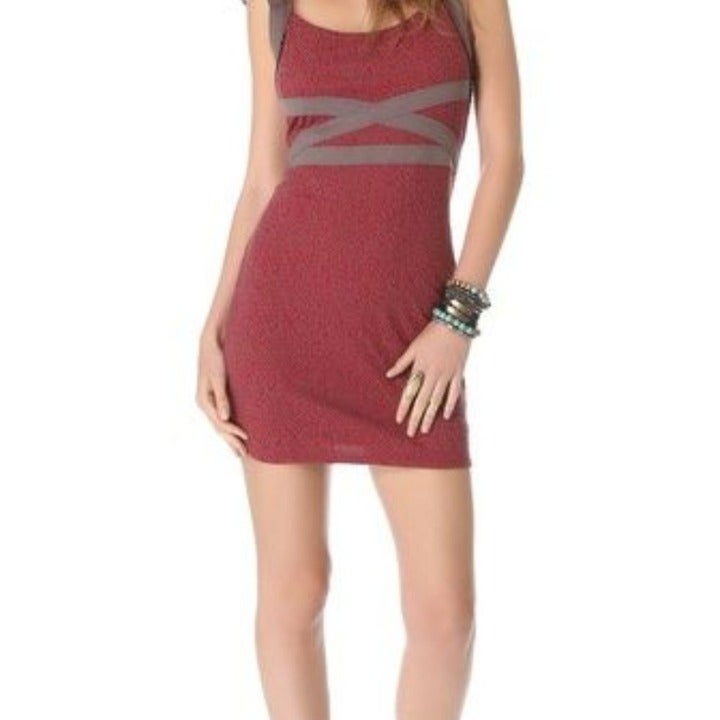 FREE PEOPLE Red Cross My Heart Bodycon