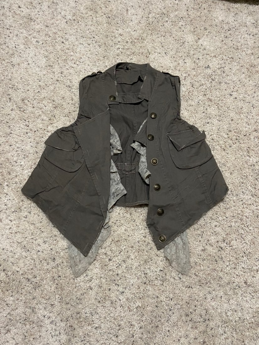 RYU Military Style Lace Button Vest