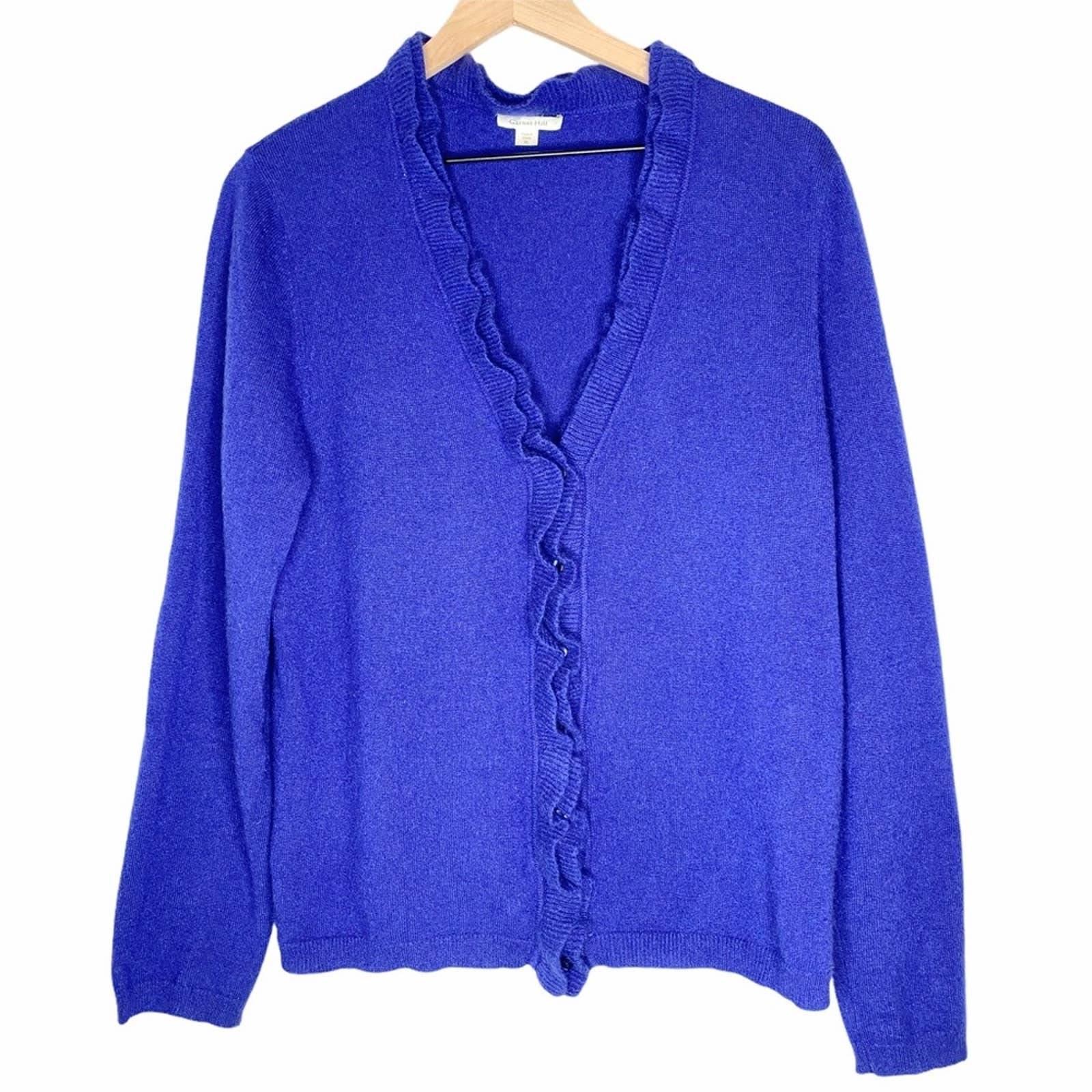 Garnet Hill Cashmere Cardigan, blue, XL