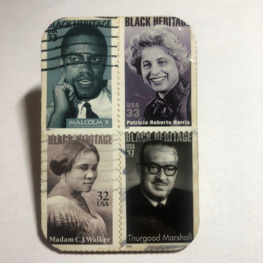 Black Heritage Postage Stamp Wood Magnet
