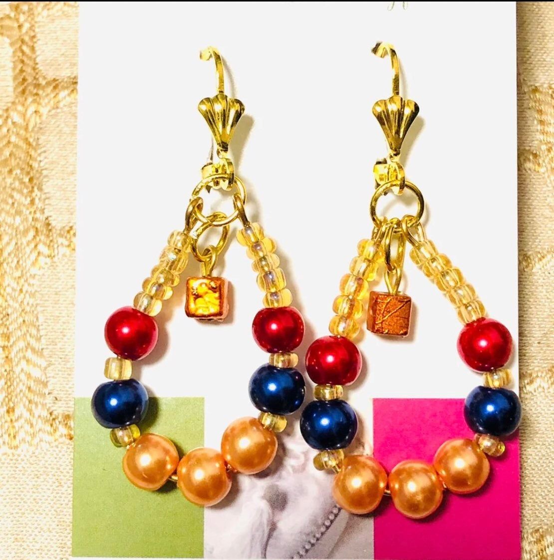 Gold beaded Earrings - boutique jewelry