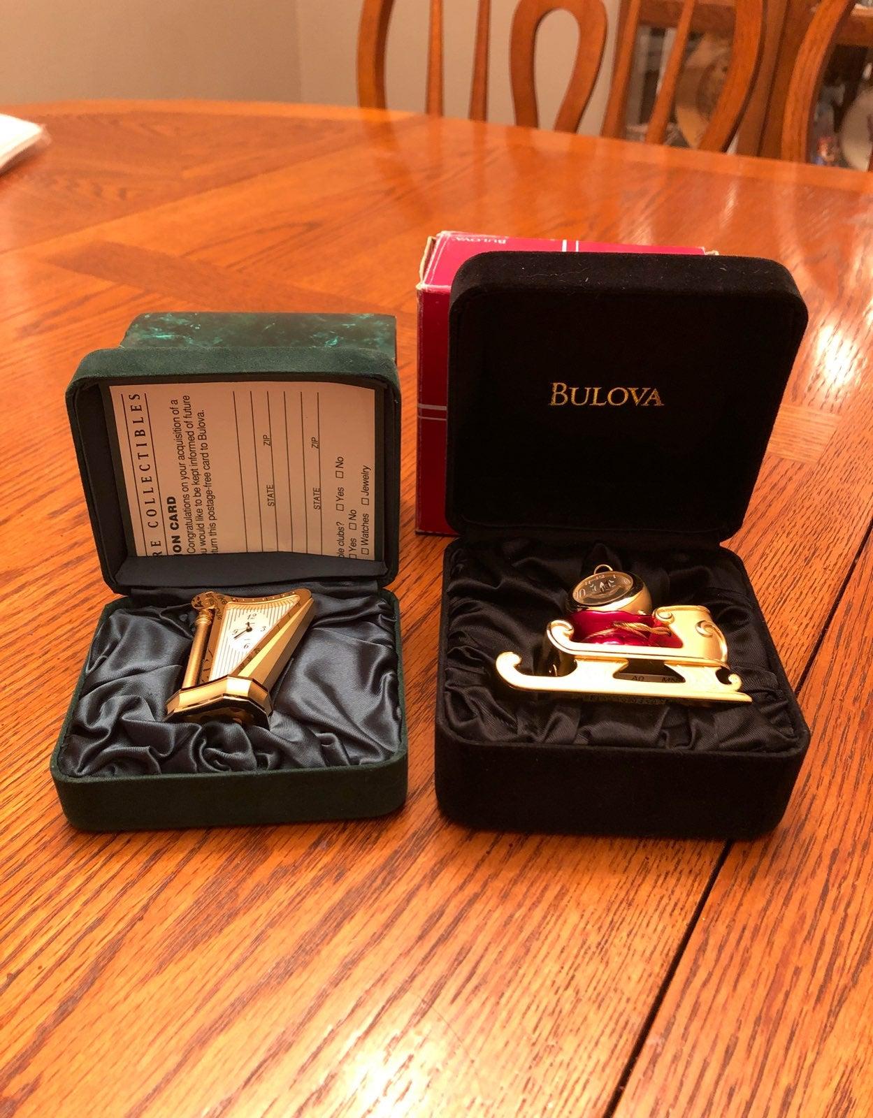 Two Bulova Miniture Clocks