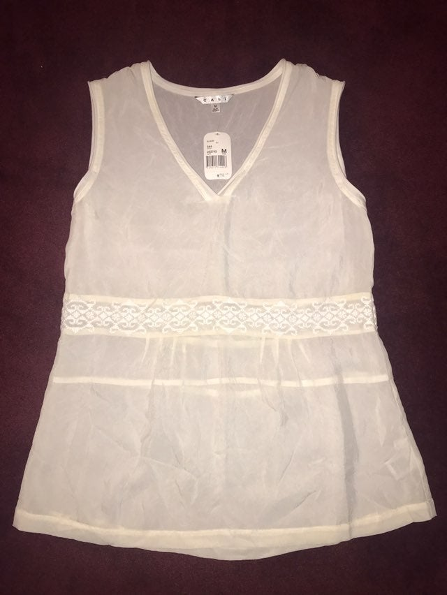 CAbi Sheer Tank Blouse, Medium, NWT