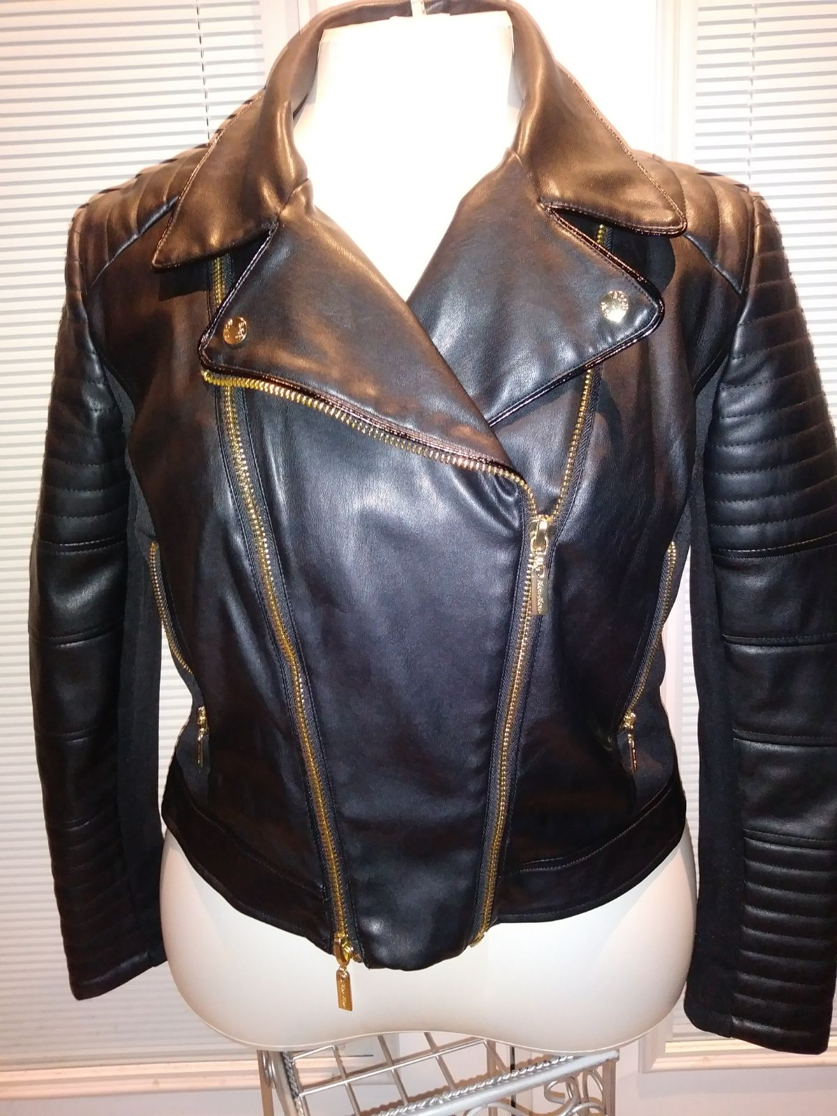 Bisou Bisou Faux Leather Moto Jacket