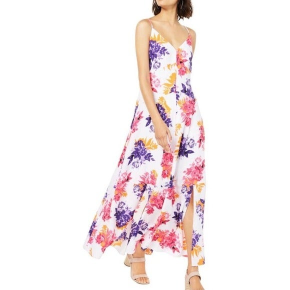 Bar III Floral Maxi Dress White Size 10