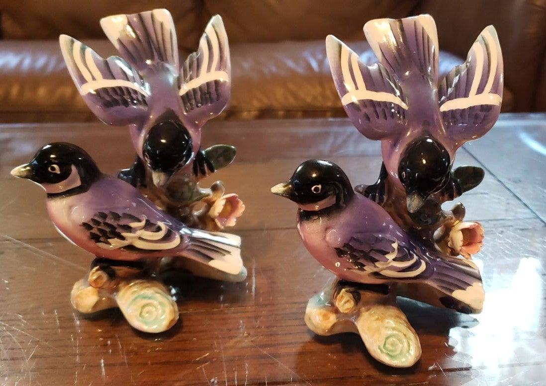 Set of 2 Chickadee Figurines Made Japan