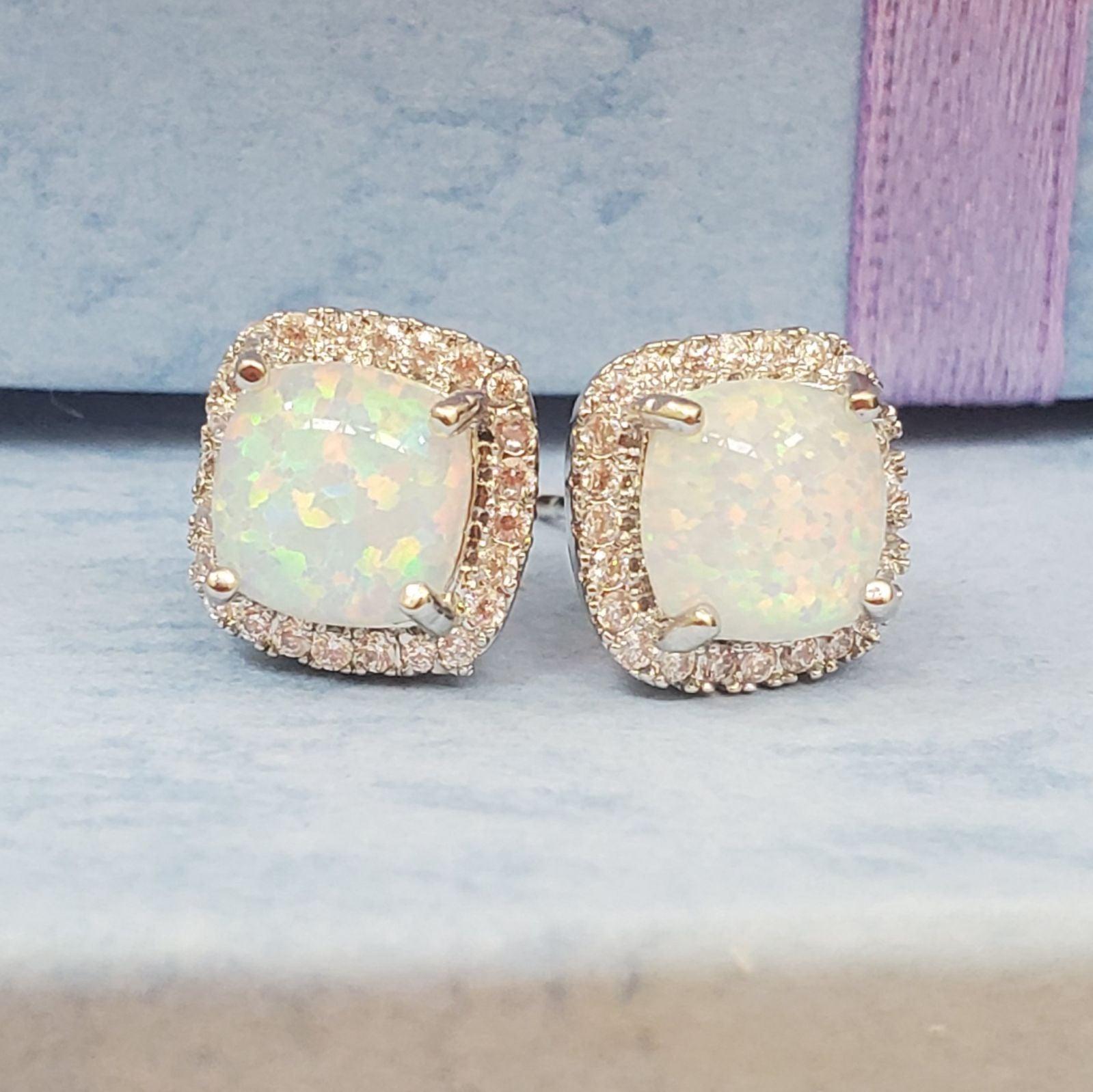 Opal cz earrings