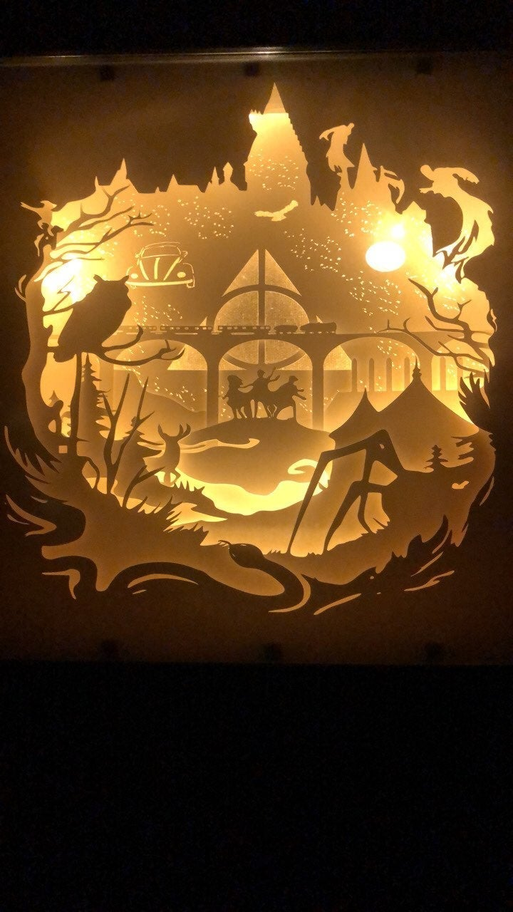 Harry Potter lighted shadow box