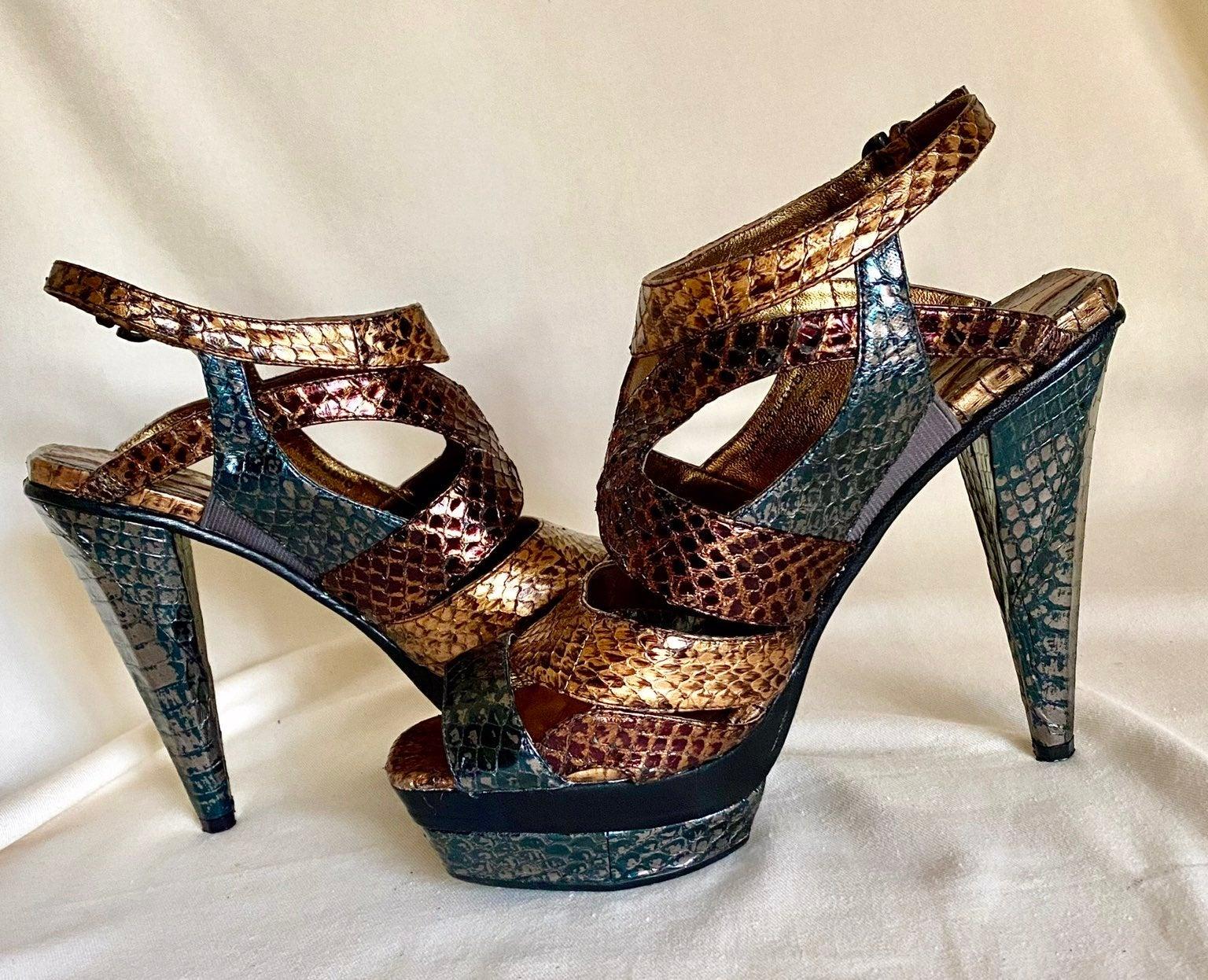 Max Studio Ridley Snakeskin Leathr Heels