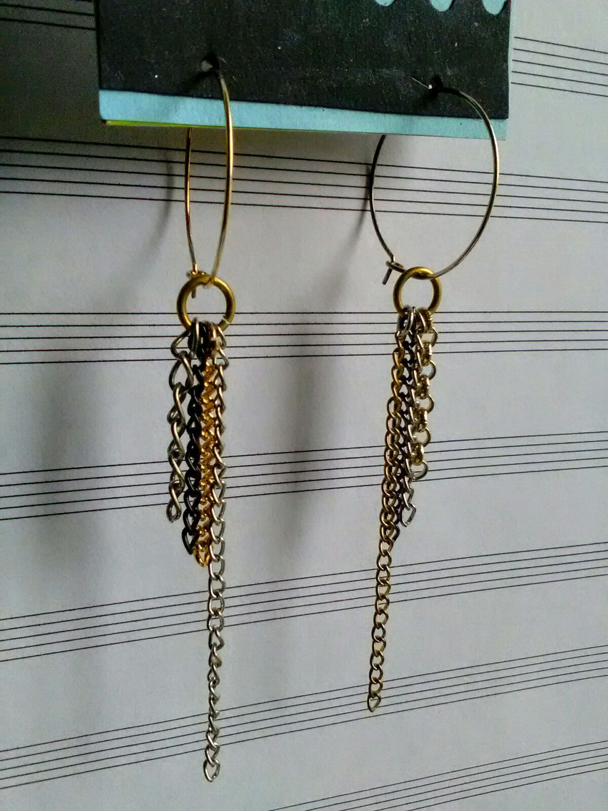 Dangle Drop Chain Hoop Earrings