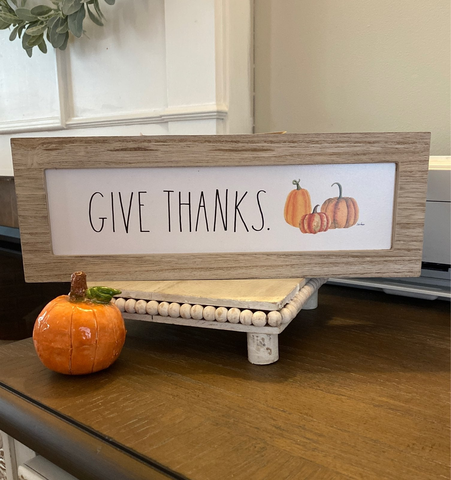 Rae Dunn GIVE THANKS Wooden Shelf Sign