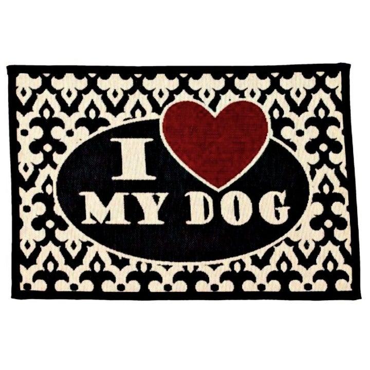 """I Love My Dog"" Tapestry Food Dish Mat"