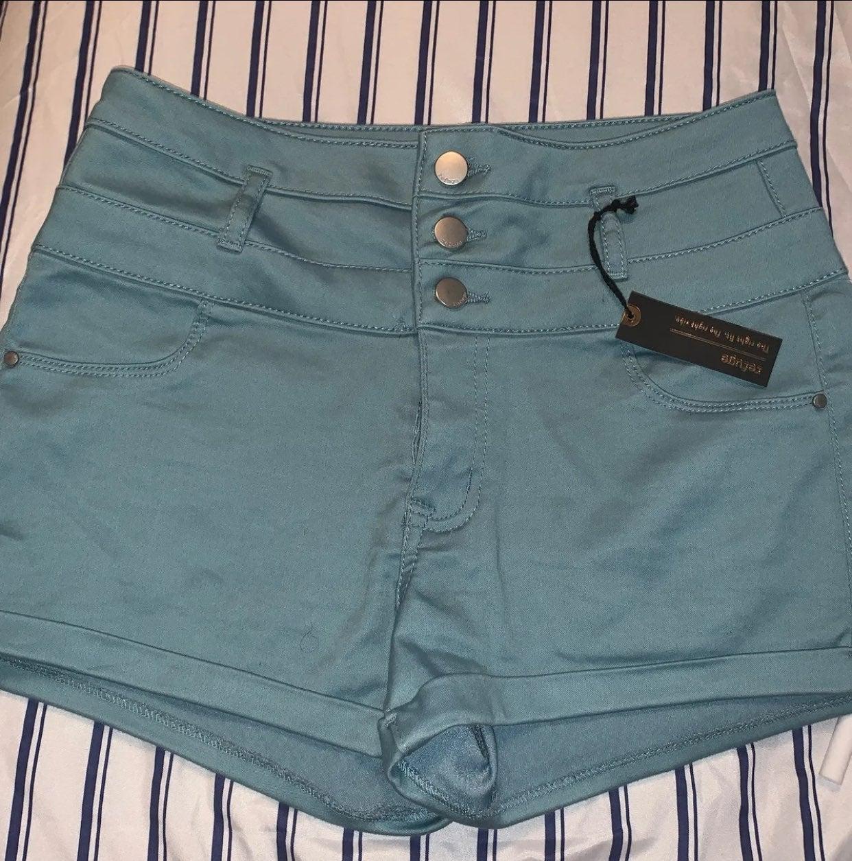 high waisted shorts blue