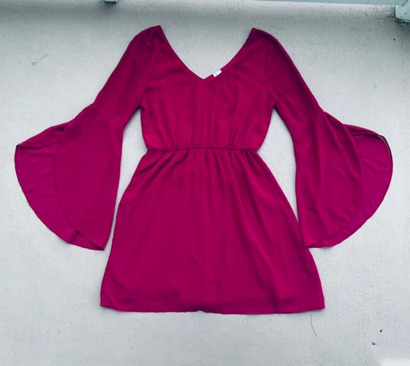 """BURGUNDY DRESS WITH """"TULIP"""" BELL SLEEVES"""