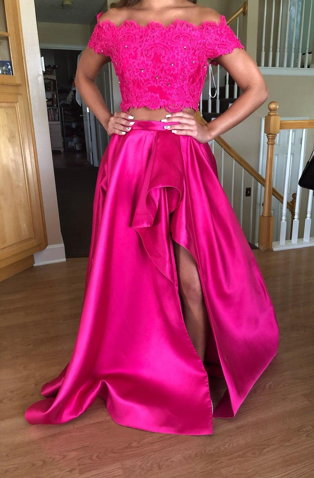 Hot pink Sherri Hill 2 piece formal ball