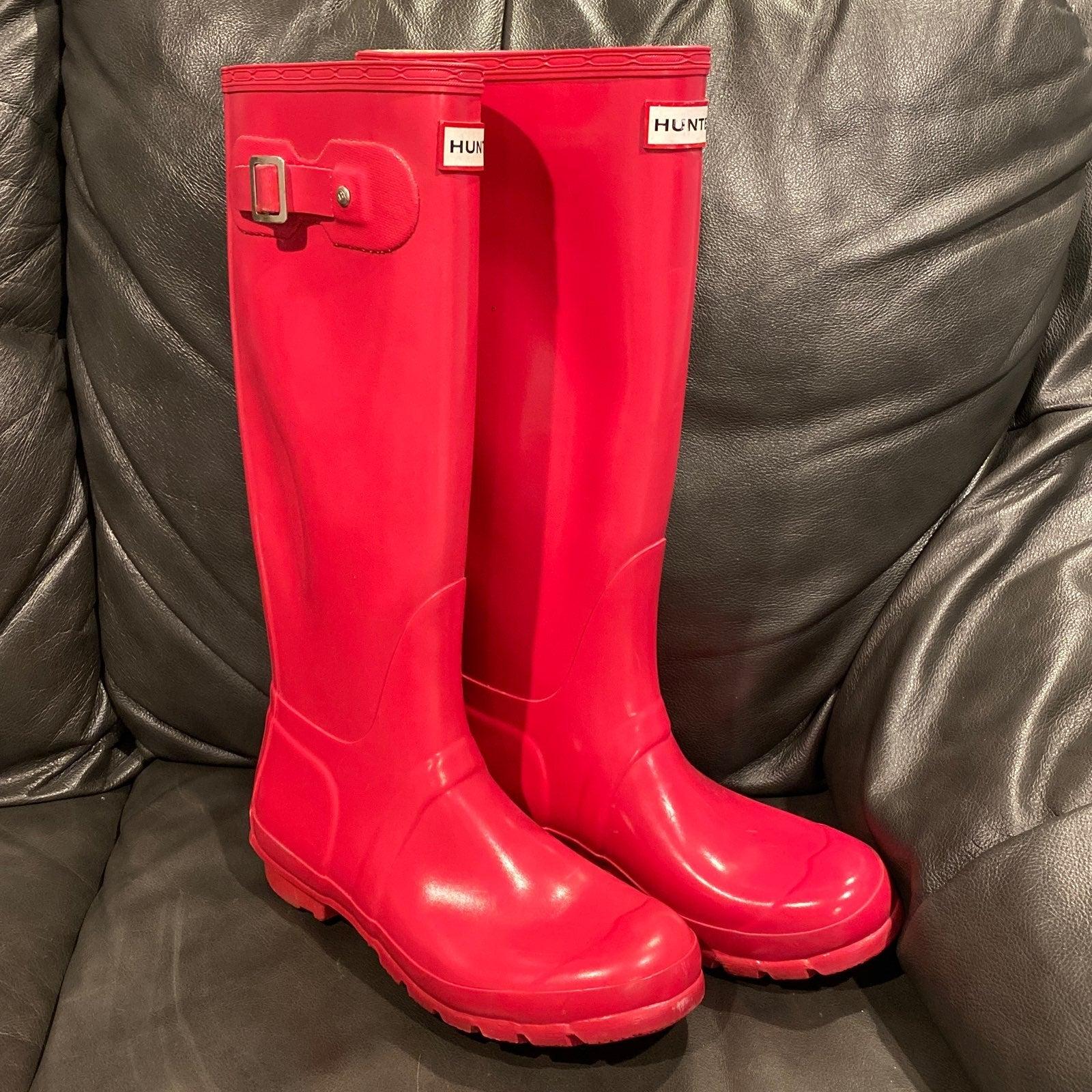 Hunter Boots Tall Gloss Pink sz 7