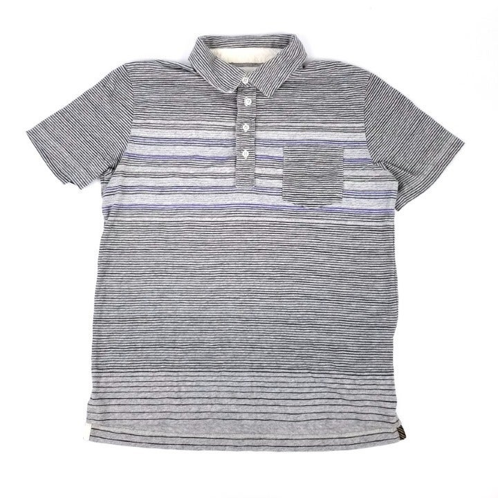 Billy Reid | Men's Gray Striped Polo M